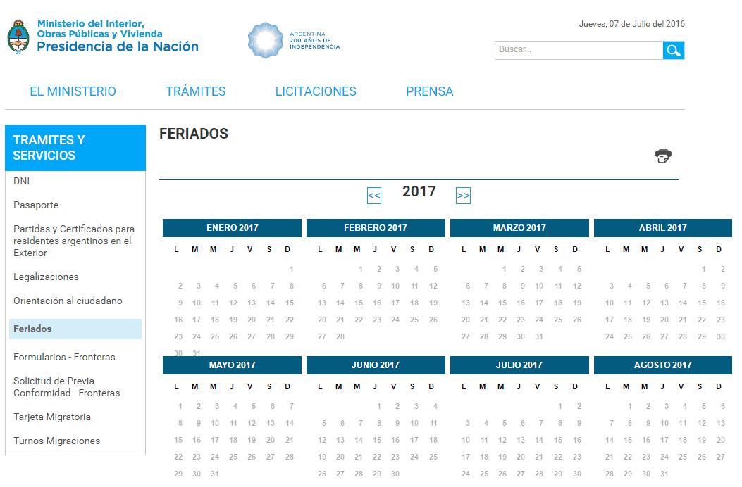 Search results for calendario argentina feriados 2015 for Calendario 2015 ministerio del interior