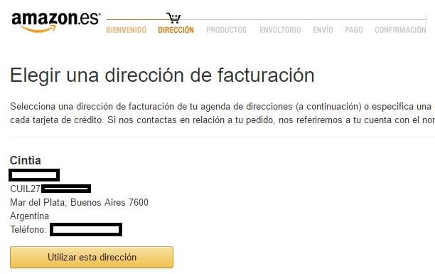Direccion De Facturacion España Amazon