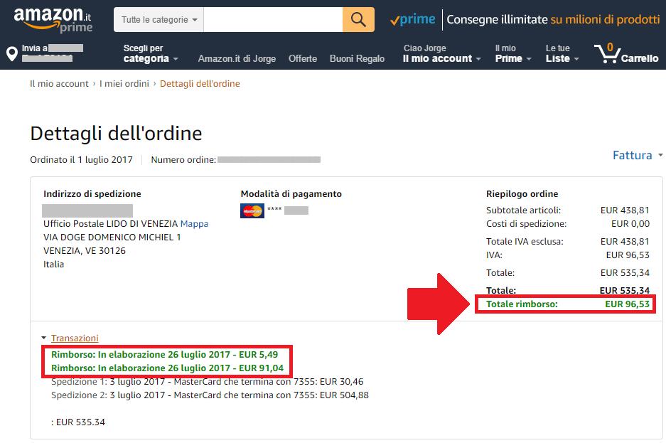 Amazon compra contra rembolso