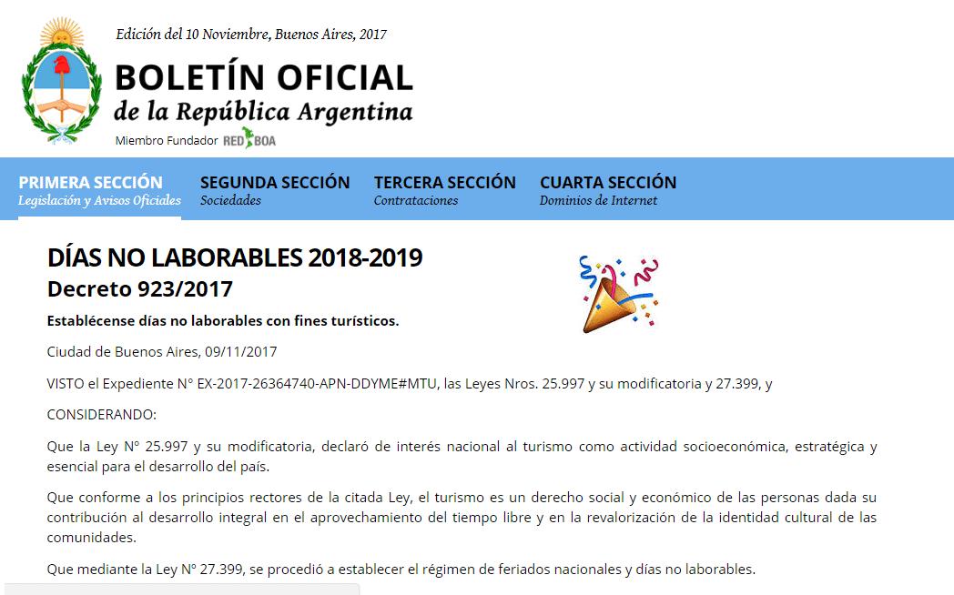 Ya se publicaron las fechas de los feriados puente 2018 y Ministerio del interior pagina oficial