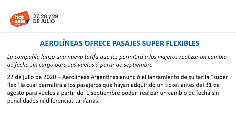 Aerolíneas Argentinas se suma al Hot Sale 2020 con tarifas súper flexibles  – Info Viajera